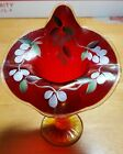 Fenton Art Glass Jack in the Pulpit Cranberry Hand Painted Vase