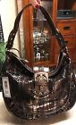 Madi Claire Brown Metallic Snakeskin Pattern Hobo Handbag Brand New W Tag