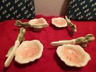 4 Individual Butter Dishes w Ceramic Knife & Knife Rest Fitz Floyd Blushing Rose