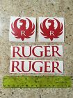 Ruger Logo Vinyl Die Cut Gun Red Decal Hunting Sticker 4 Pack Lot