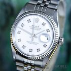 STUNNING Rolex DateJust 18k WG Porcelain White Diamond Auto 36mm Mens 1601 #1446