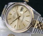Rolex Men's DateJust Champagne Tapestry Dial Boxes Papers 18kt Gold Steel 16233