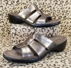 CLARKS WOMENS OPEN TOE STRAPPY SANDALS SIZE 10 SLIP ON BRONZE LEATHER BROWN