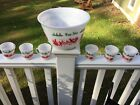 Hazel Atlas Egg Nog punch bowl and 6 mugs/cups Christmas holiday