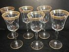 6 Vintage Gold Stripe Rim Optic Panelled Water Wine Glass Goblet Stemware