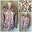 Chicos Pink Brown Leopard Print Satin Long Sleeve Button Up Blouse Shirt Top 2
