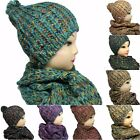 Womens Ladies Fashion Knitted Bobble Pom Pom Hat and Snood Scarf Full Winter Set