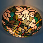 European Dragonfly Pattern Ceiling Light Stained Glass Hanging Pendant Lamp