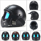 Harley Helmets 3 4 Open Motorcycle Chopper Bike Helmet PU Leather W Goggle Mask