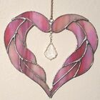 Beautiful pink stained glass heart with crystal pendant Custom art