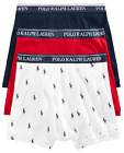 Polo Ralph Lauren Classic Fit Three Pack Cotton Boxer Brief White Navy Blue Red