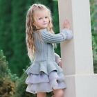 Kids Girls Knitted Sweater Winter Pullover Crochet Tutu Dress Tops Clothes 2T 7T