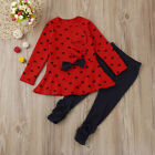 Toddler Baby Girls Heart Print Clothes Bow Top T shirt +Pants Outfits Set 1T 3T