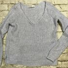 Womens Abercrombie  Fitch Knitted V Neck Sparkly Sweater Large Baby Blue