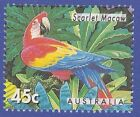 SCARLET MACAW STAMP PARROTS AUSTRALIA 1994 ZOOS ENDANGERED SPECIES FOREST BIRDS