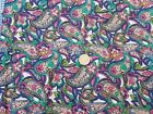 COTTON FABRIC PURPLE TAN PINK  GREEN FLORAL PAISLEY ON WHITE BTY