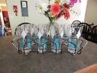Mid Century Atomic 8 Turquoise White Gold Diamond Drinking Glasses w/ Bar Caddy