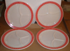 Fire King 350 3 way divided RED Laural RESTAURANT WARE HOCKING 1960s
