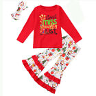 Boutique Toddler Kids Girls Christmas Reindeer Dress Tops Pants 3Pcs Outfits Set