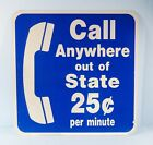 Vintage Two Sided Telephone Call Anywhere Out Of State Michigan Rest Stop Sign