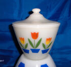 Vintage Fire King Grease Bowl Ivory Milk Glass w/ Lid Tulip Flower Design 1950s