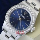 Ladies Rolex  Oyster Perpetual Blue Dial & 18K White Gold Diamond Bezel Watch