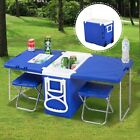 Blue Multi Function Rolling Cooler Picnic Camping Outdoor w Table