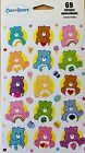 Care Bears Stickers New Sealed 69 Stickers 3 Sheets Stocking Stuffer Sale