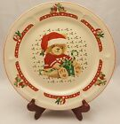 Tienshan Stoneware Christmas Theodore Teddy Holiday Bear Dinner Plate Red