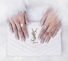 YSL LUXURY RARE BRIDAL WHITE GOLD WALLET ON CHAIN 100 AUTHENTIC BRAND NEW