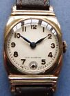MINT dial ROTARY WW2 era 15J rolled G baguette shaped mens - 1940's +brown strap