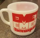 Vintage Federal EMETTE-CON  PHARMACEUTICAL advertising MUG CUP Milk Glass DRUGS
