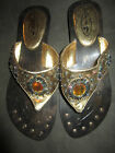 Resort Metallic Gold Beaded Thong Flip Flop Sandals 6