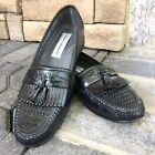 Stacy Adams Woven Black Tassels Weave Leather Slip On Loafers Shoes 10 M EUC