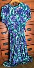Vintage Dress Blue Green Watercolor Midi Modest Women's  SZ 8