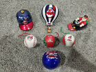 DANBURY MINT CLEVELAND INDIANS BASEBALL RARE ORNAMENT LOT OF 7 GLASS HOT AIR