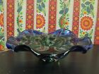 1950s Seguso Murano Glass centerpiece bowl Large Blue  Green 10 across