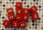 Dice D6 Set of 12 Opaque Red w White 16mm Six Sided Die DD RPG MTG