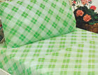 VINTAGE SHEET SET FULL FLAT FITTED & PILLOWCASES NEW NOS RETRO LIME GREEN PLAID