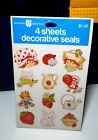 New Vintage 4 Sheets of AGC Strawberry Shortcake Decorative Seal Stickers sealed