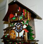 HAND PAINTED MUSICAL SWISS COTTAGE WATER WHEEL BLACK FOREST CUCKOO