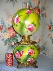 c 1900 ROSE Chintz GWTW Parlor Banquet Lamp Consolidated Glass Antique