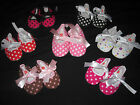Baby Girl POLKA DOT Mary Jane Dress CRIB SHOES Soft Sole BLACK PINK RED WHITE