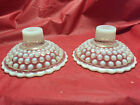 Pair of Anchor Hocking Moonstone Glass Hobnail Candlestick Holders