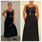 DESIGNER Vintage Black Long Velvet Dress Pearl Spaghetti Strap Belted Gown