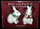 Fitz & Floyd TOWN COUNTRY Christmas BUNNY RABBITS Salt Pepper Shaker Holiday Set