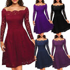 Womens Vintage Lace Dress Ladies Wedding Cocktail Evening Party Swing Dresses