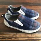 MSGM Womens Slip On Sneakers Fuzzy Furry Size 37 7 Blue Plaid