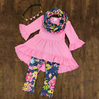 USA Toddler Baby Girls Flower Top Blouse Pants Leggings Outfits Set Clothes 3Pcs