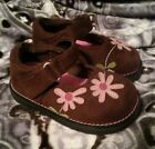 Smart Fit Mary Jane Shoes Brown Suede w Pink Flower Toddler Size 5 FREE SHIP